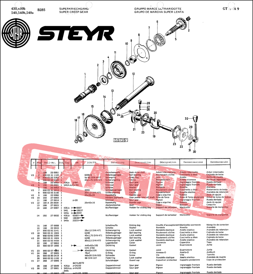 Steyr 768 768A spare parts catalog