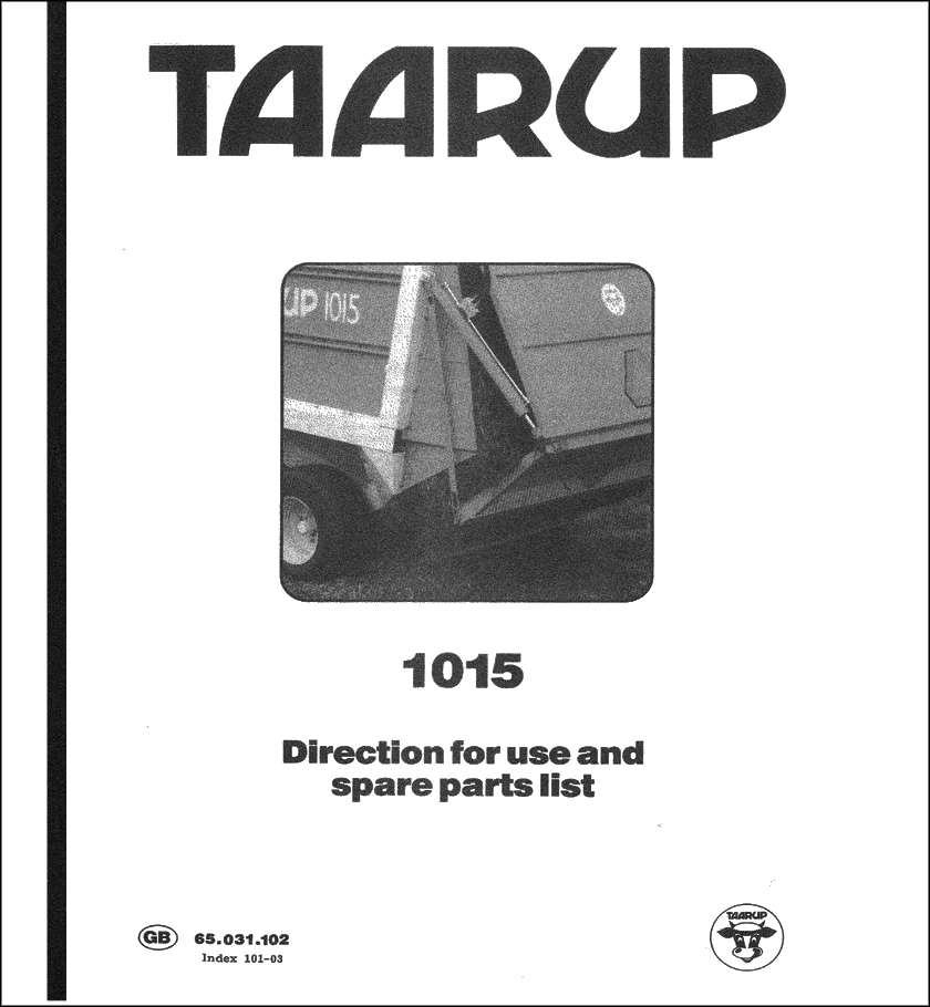 Taarup 1015 spare parts manual