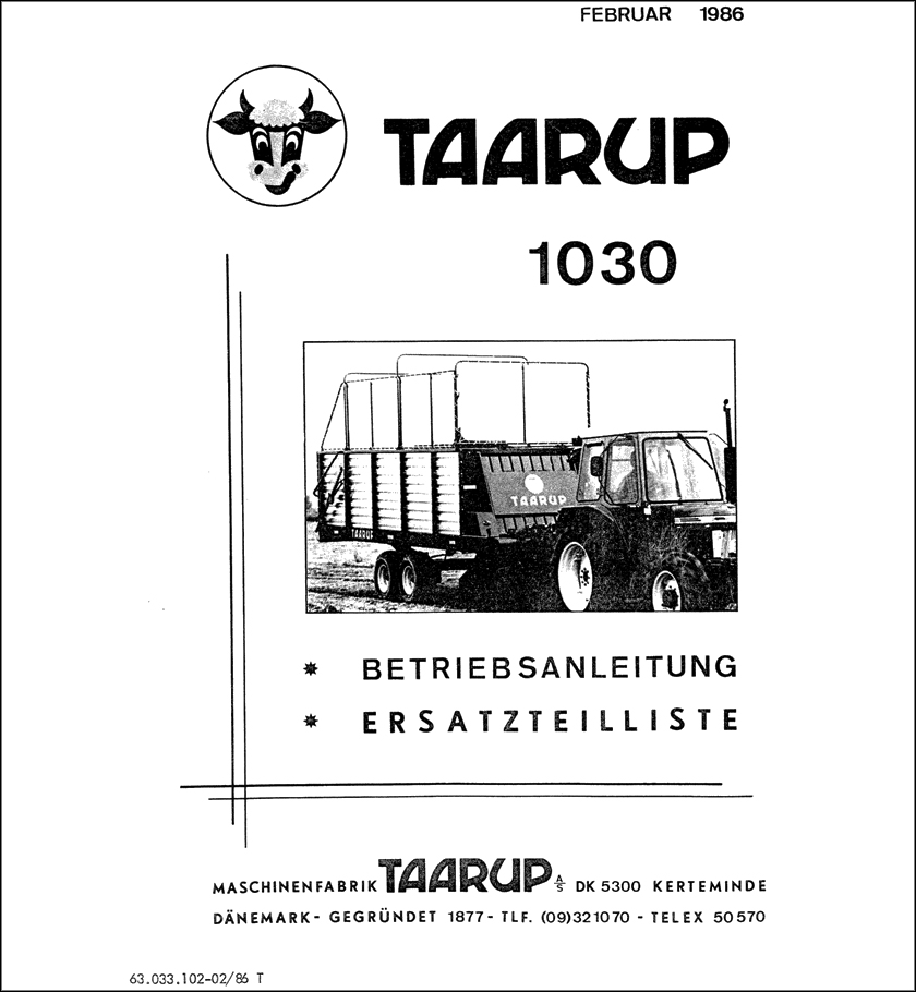 Taarup 1030 spare parts manual