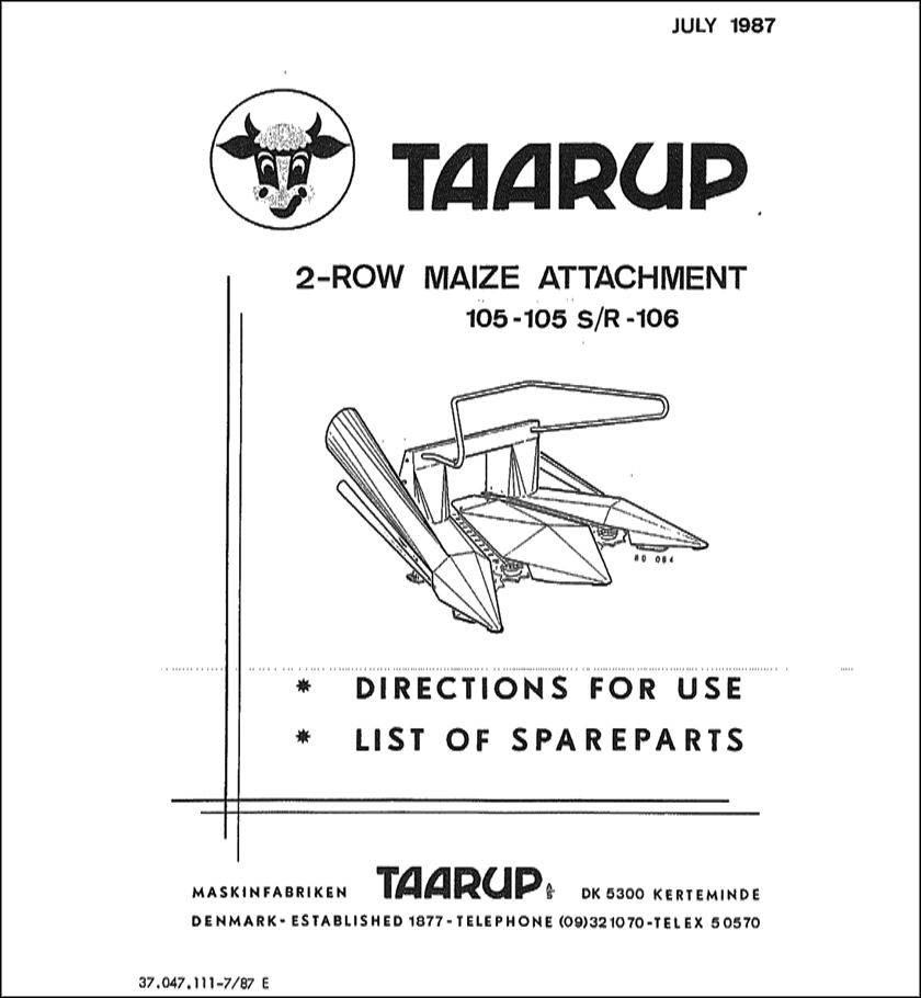 Taarup 105 105SR 106 spare parts manual