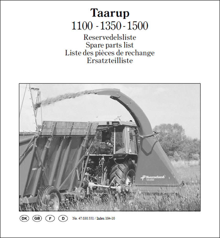 Taarup 1100 1350 1500 spare parts manual