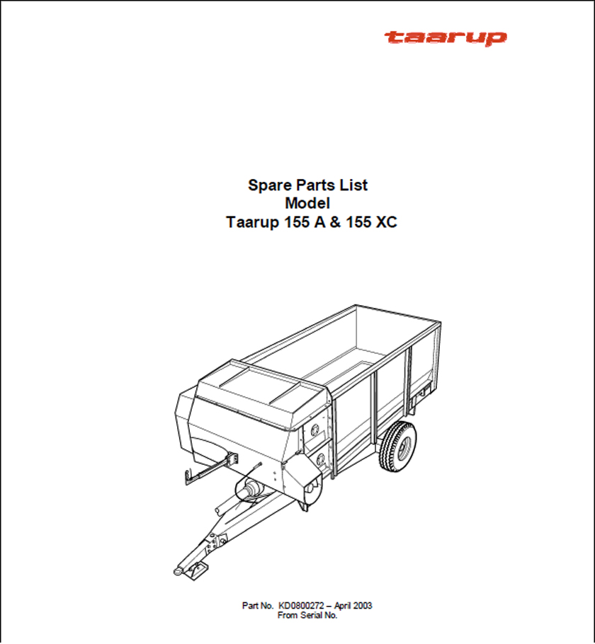 Taarup 155 155XC spare parts manual