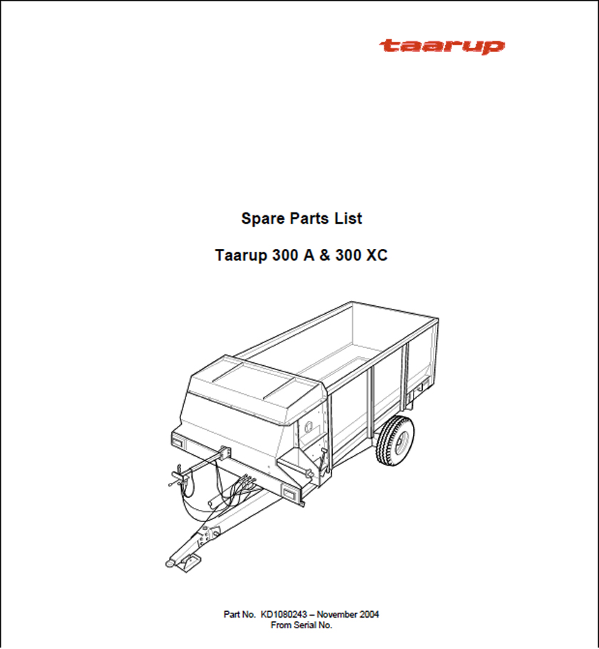 Taarup 300 300XC spare parts manual