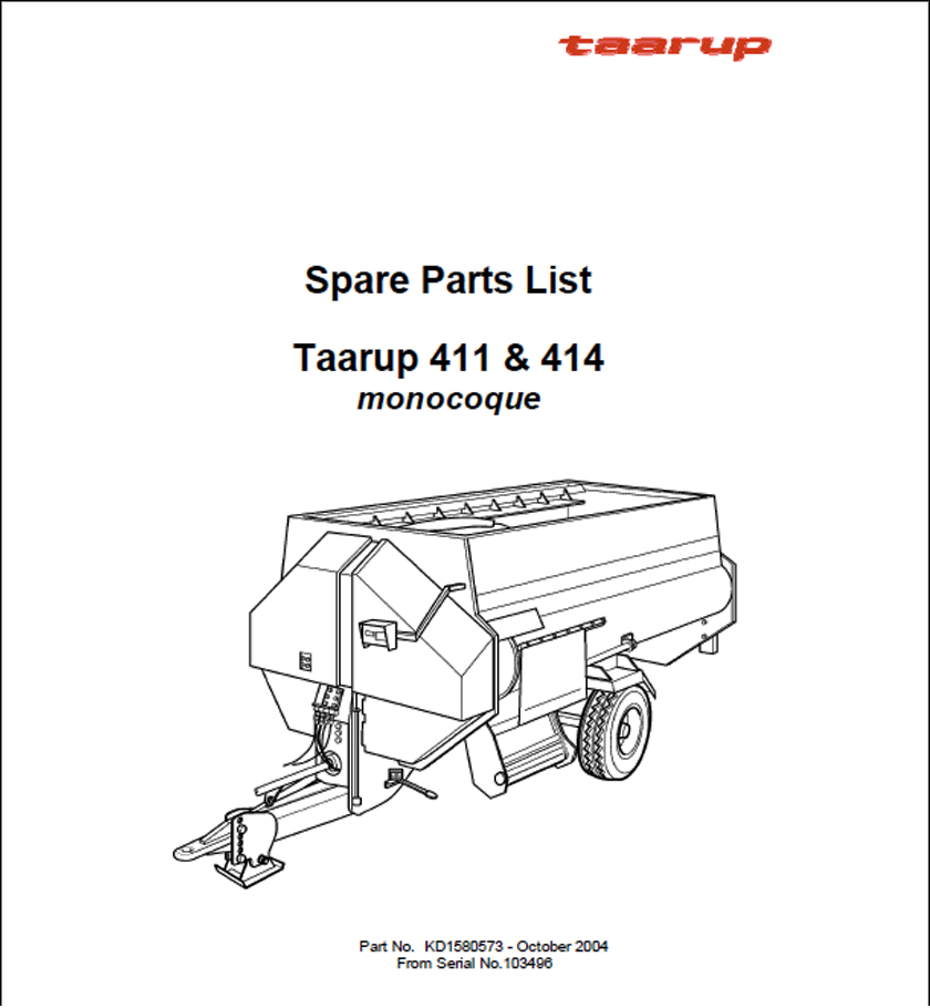 Taarup 411 414 spare parts manual