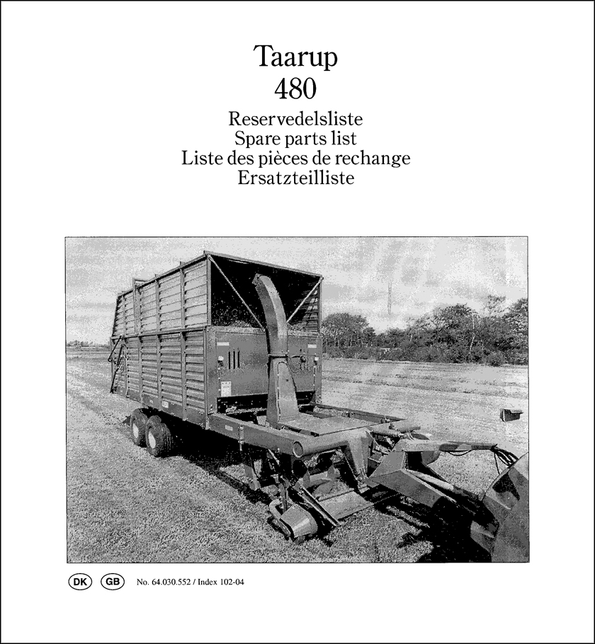 Taarup 480 spare parts manual
