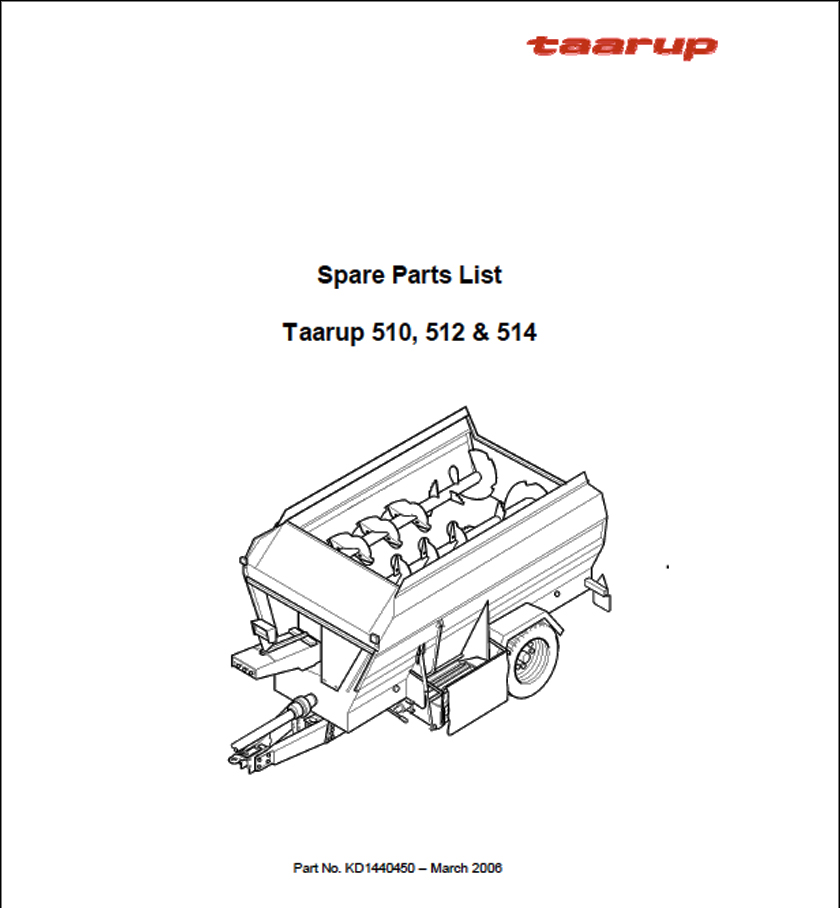 Taarup 510 512 514 spare parts manual