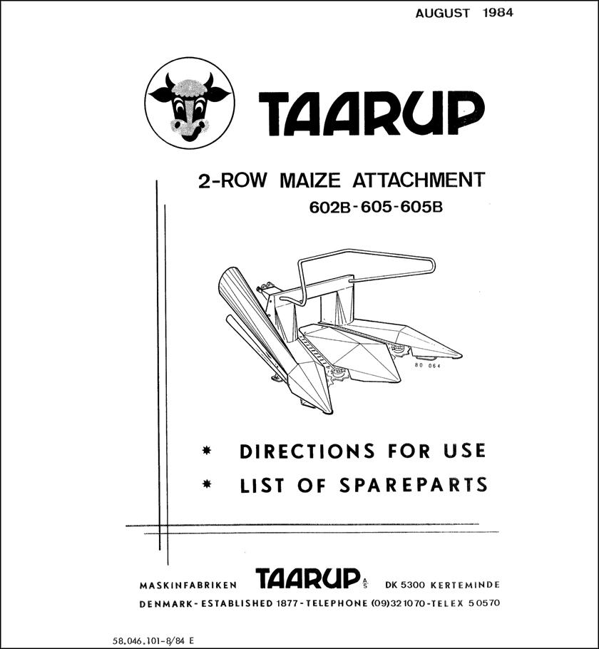 Taarup 602B 605 605B spare parts manual