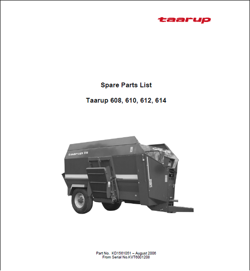 Taarup 608 610 612 614 spare parts manual