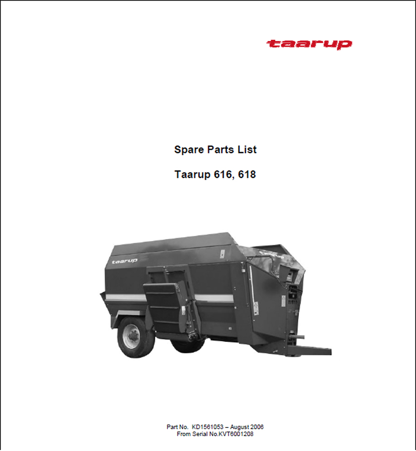 Taarup 616 618 spare parts manual