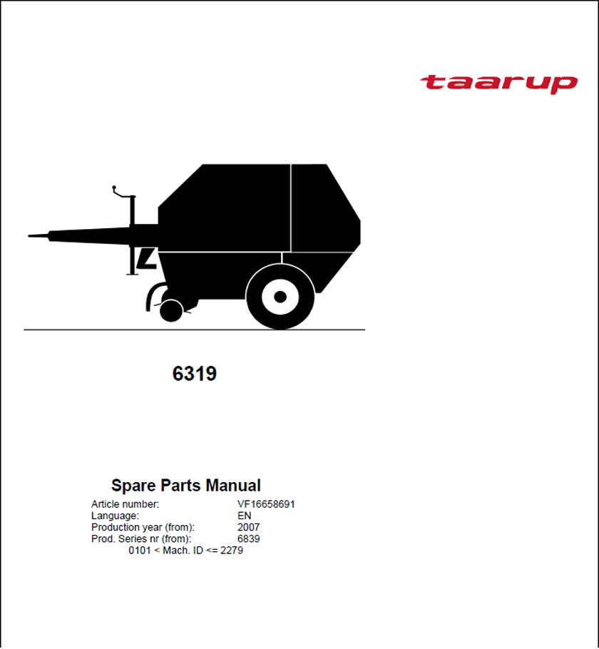 Taarup 6319 spare parts manual