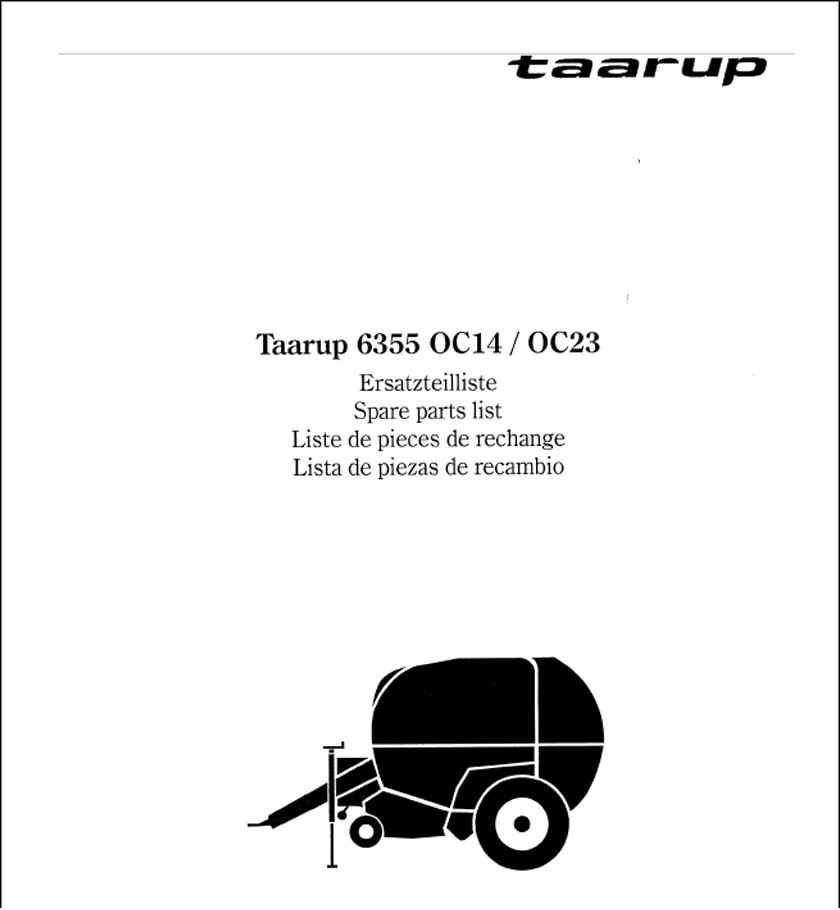 Taarup 6355 spare parts manual