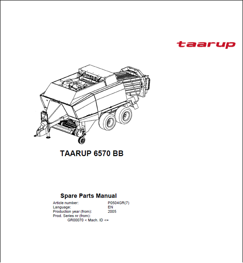 Taarup 6570 spare parts manual