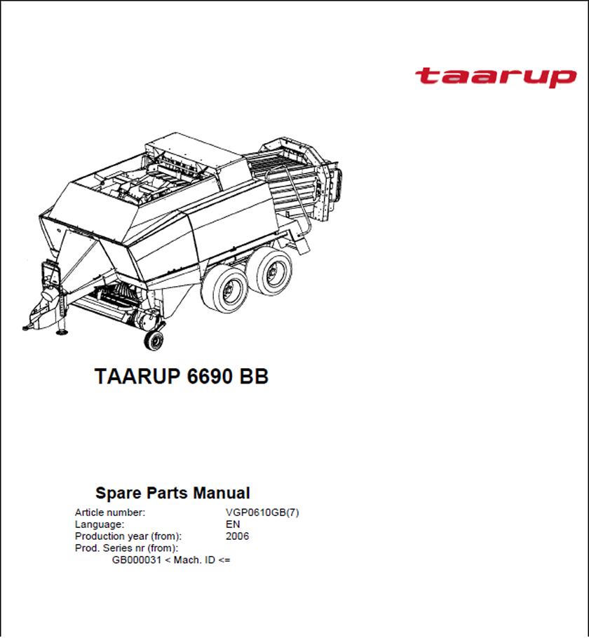 Taarup 6690 spare parts manual