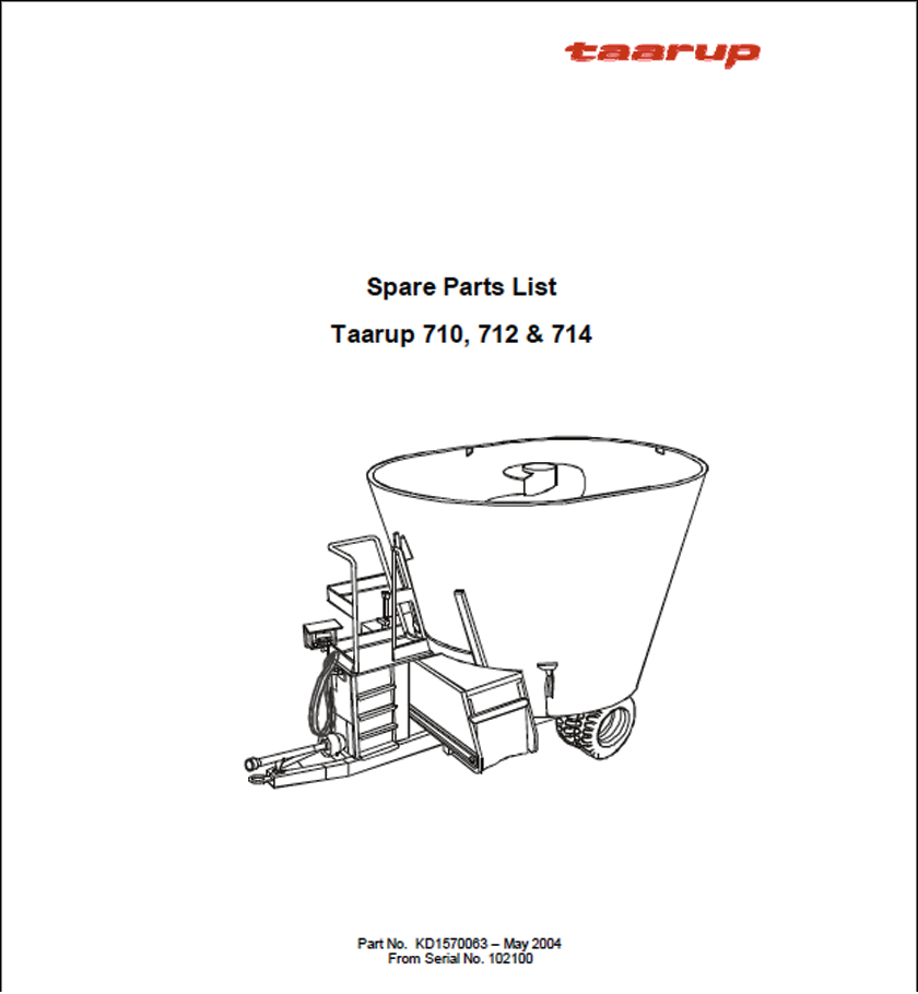 Taarup 710 712 714 spare parts manual