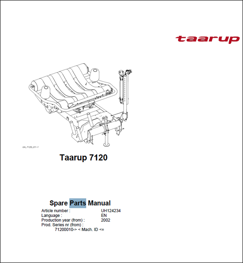 Taarup 7120 spare parts manual