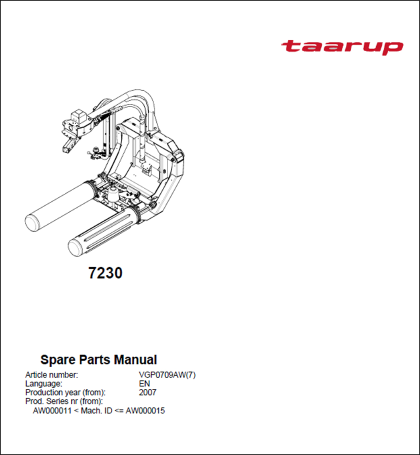 Taarup 7230 spare parts manual