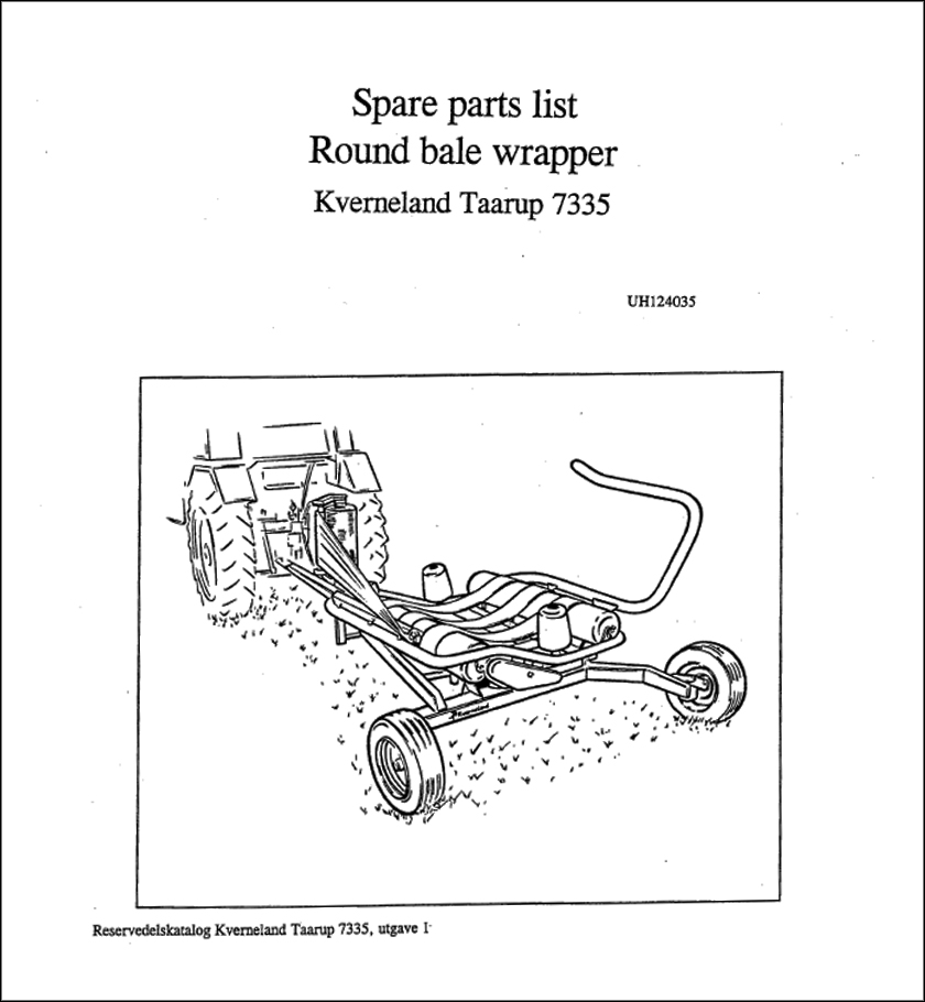 Taarup 7335 spare parts manual
