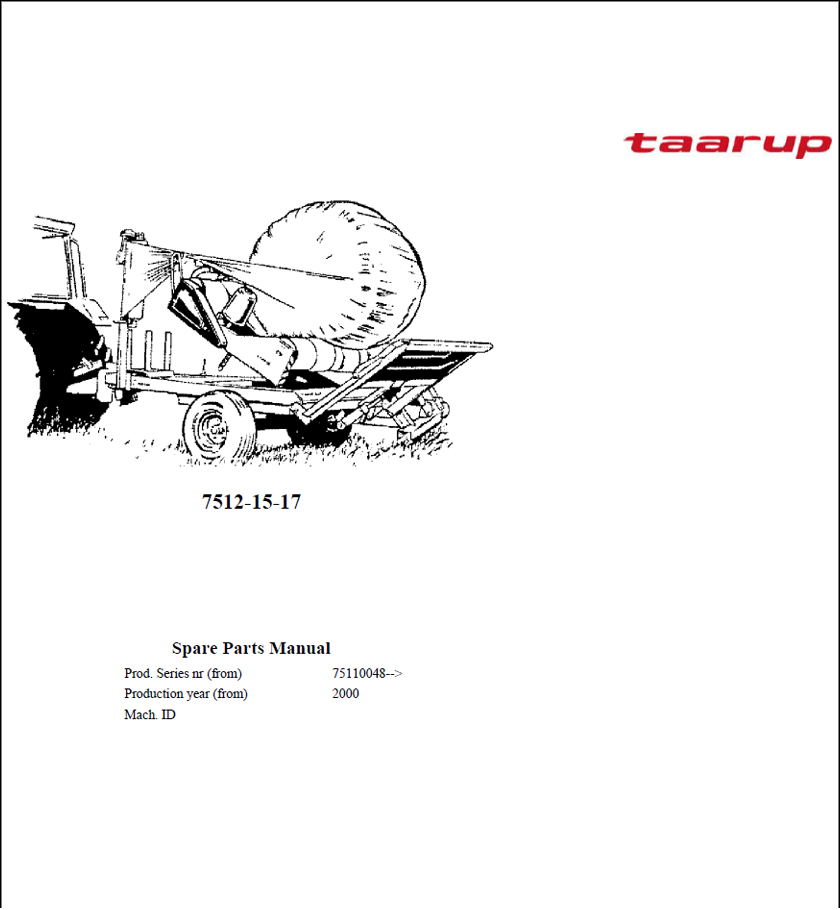 Taarup 7512 7515 7517 spare parts manual