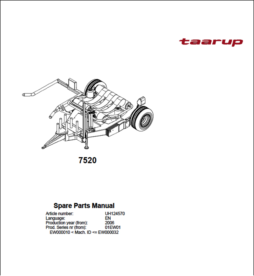 Taarup 7520 spare parts manual