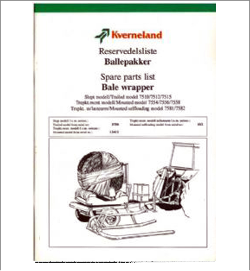Taarup 7554 7556 7558 spare parts manual