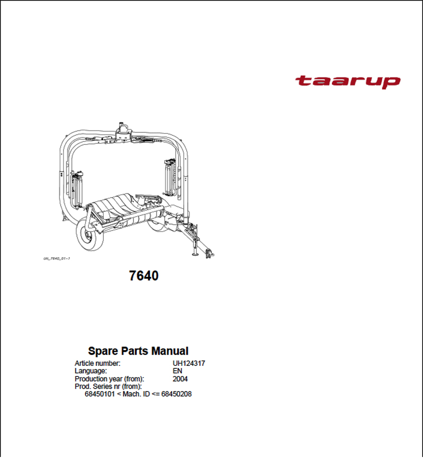 Taarup 7640 spare parts manual