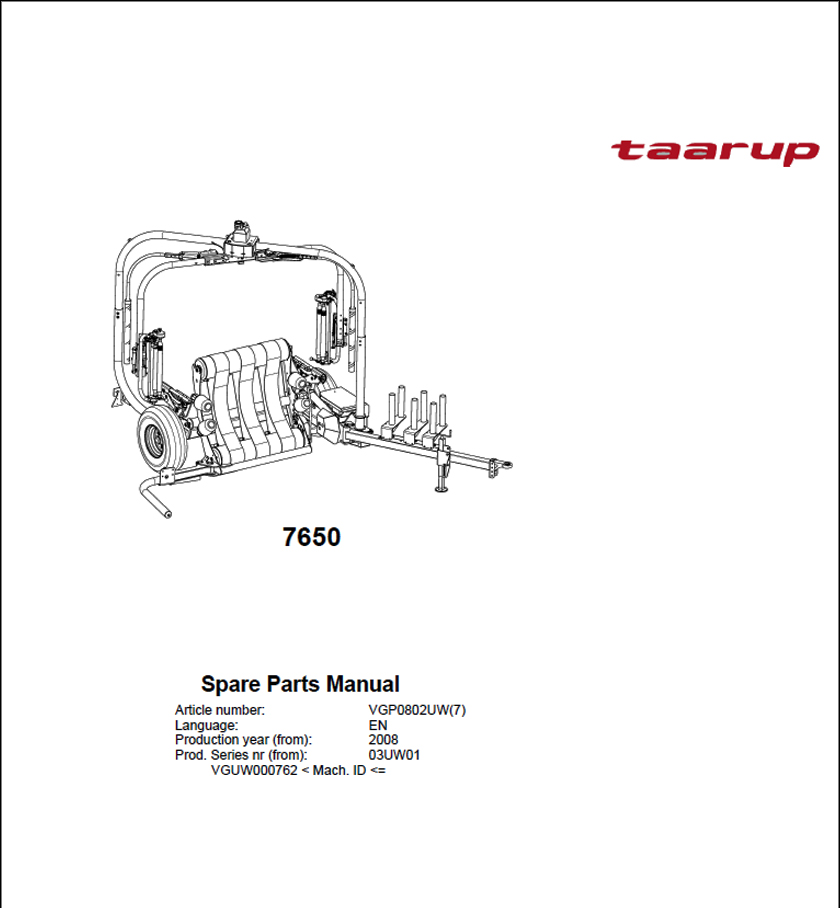 Taarup 7650 spare parts manual