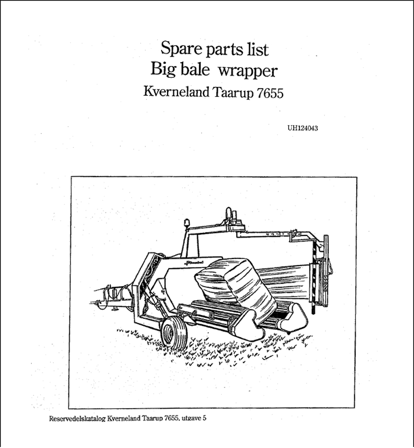 Taarup 7655 spare parts manual