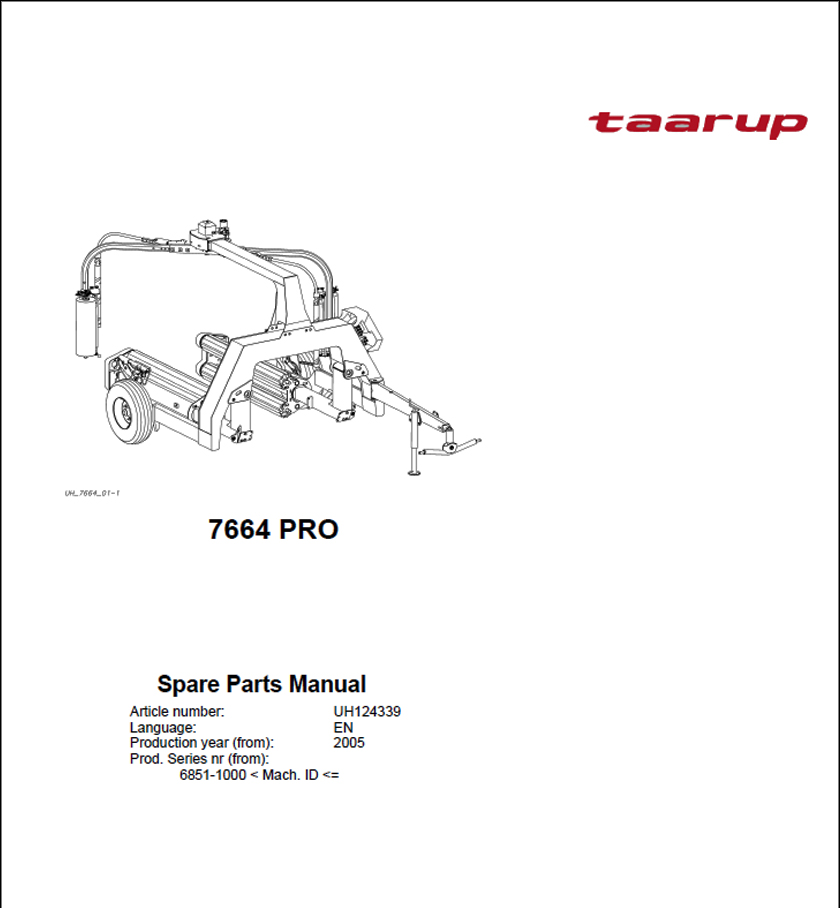 Taarup 7664 Pro spare parts manual