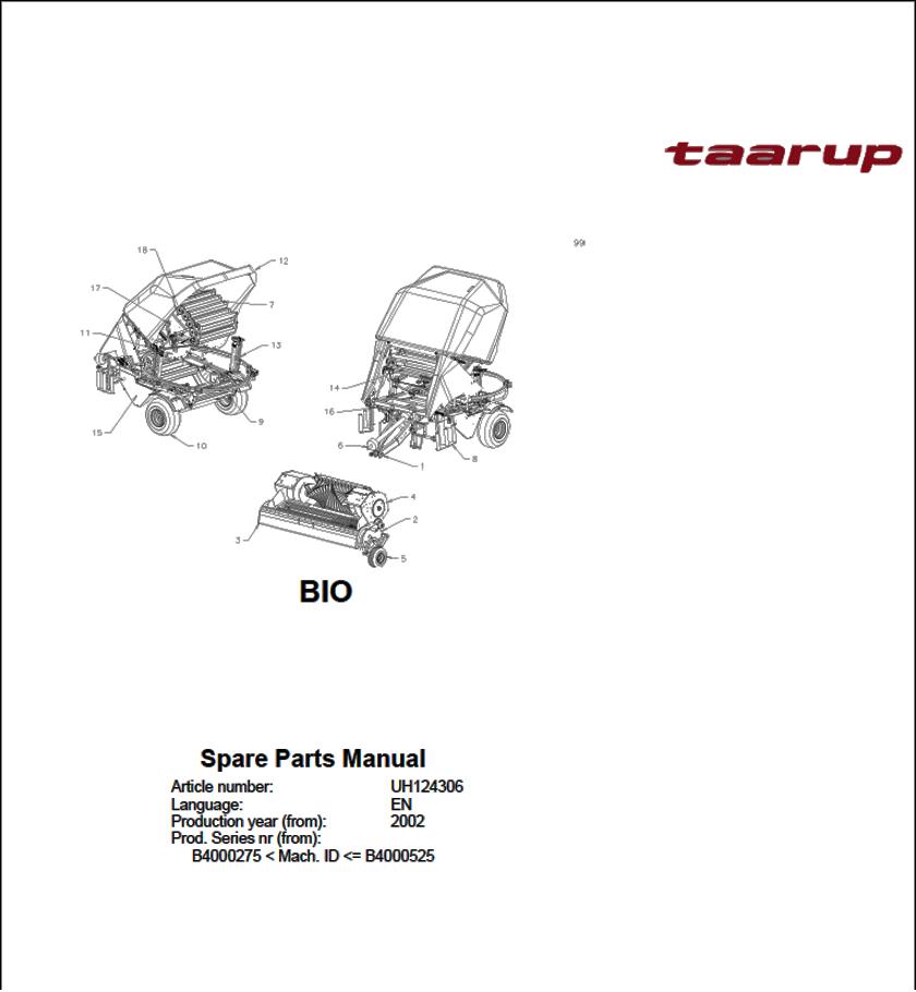 Taarup BIO spare parts manual