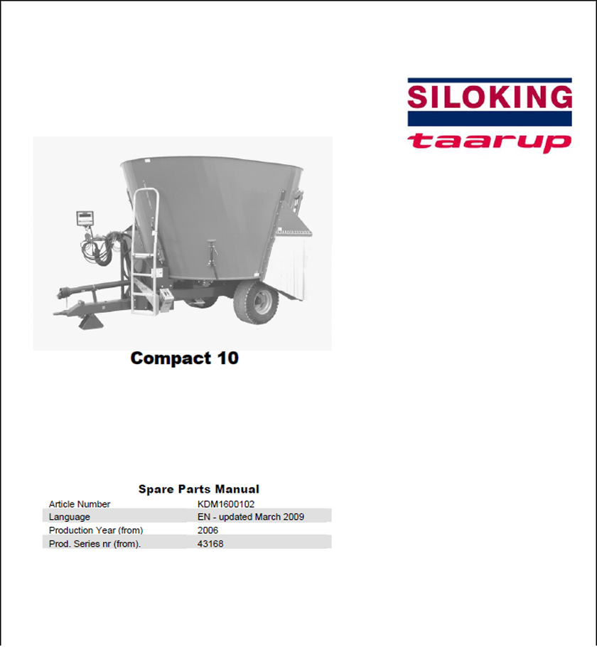 Taarup Compact 10 spare parts manual