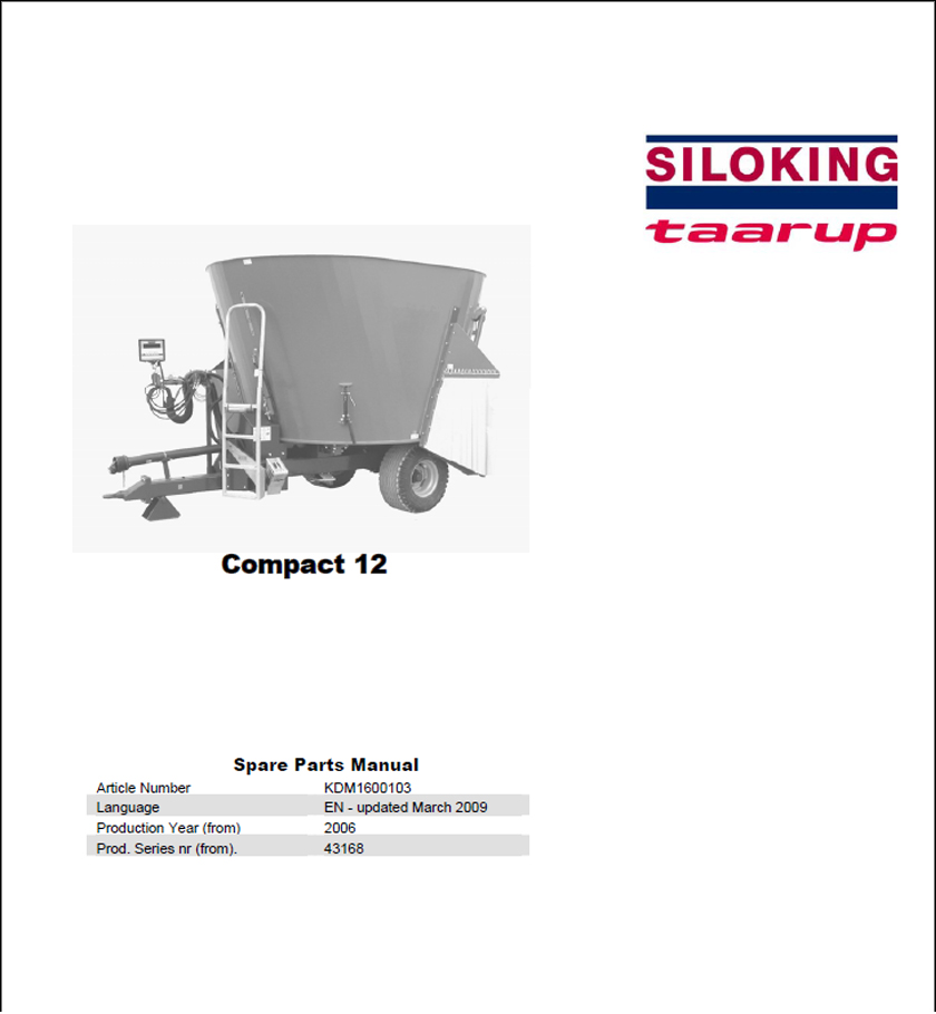 Taarup Compact 12 spare parts manual