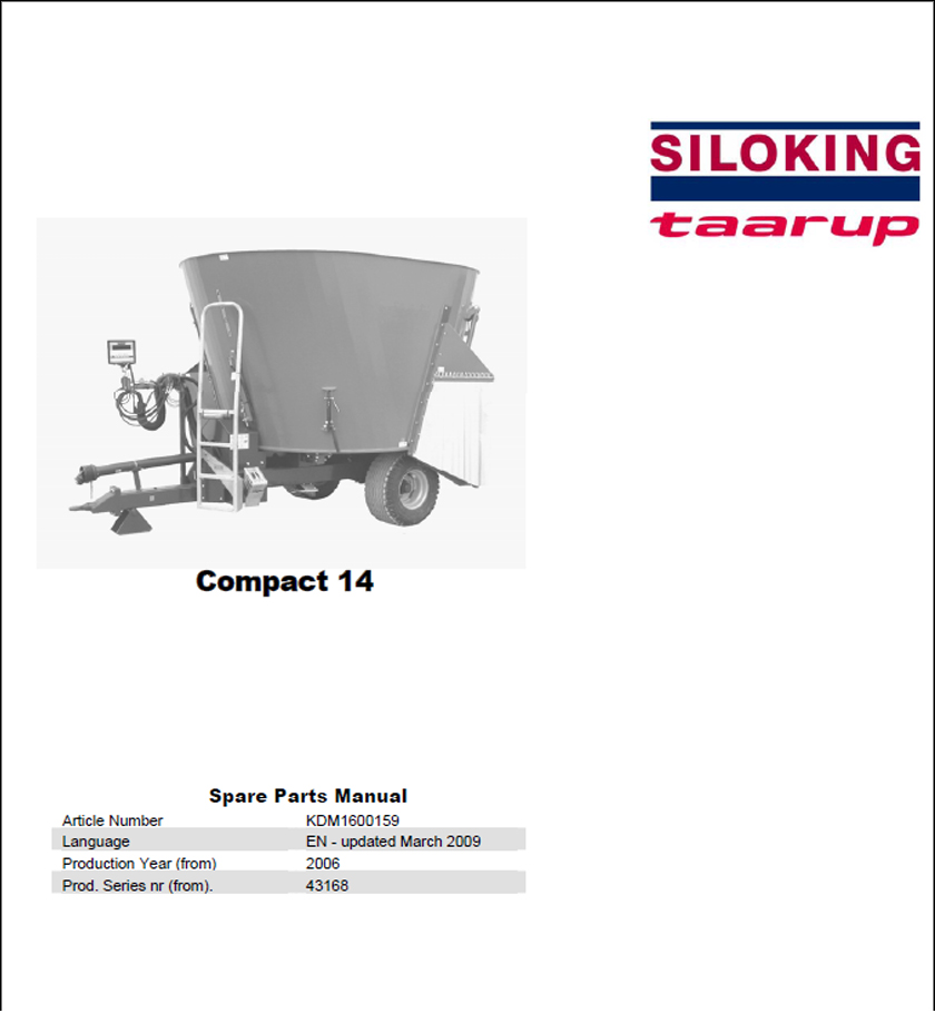 Taarup Compact 14 spare parts manual