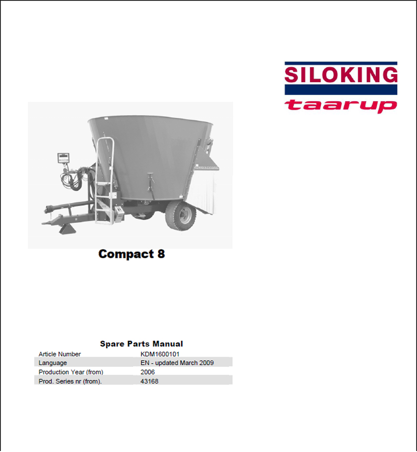 Taarup Compact 8 spare parts manual