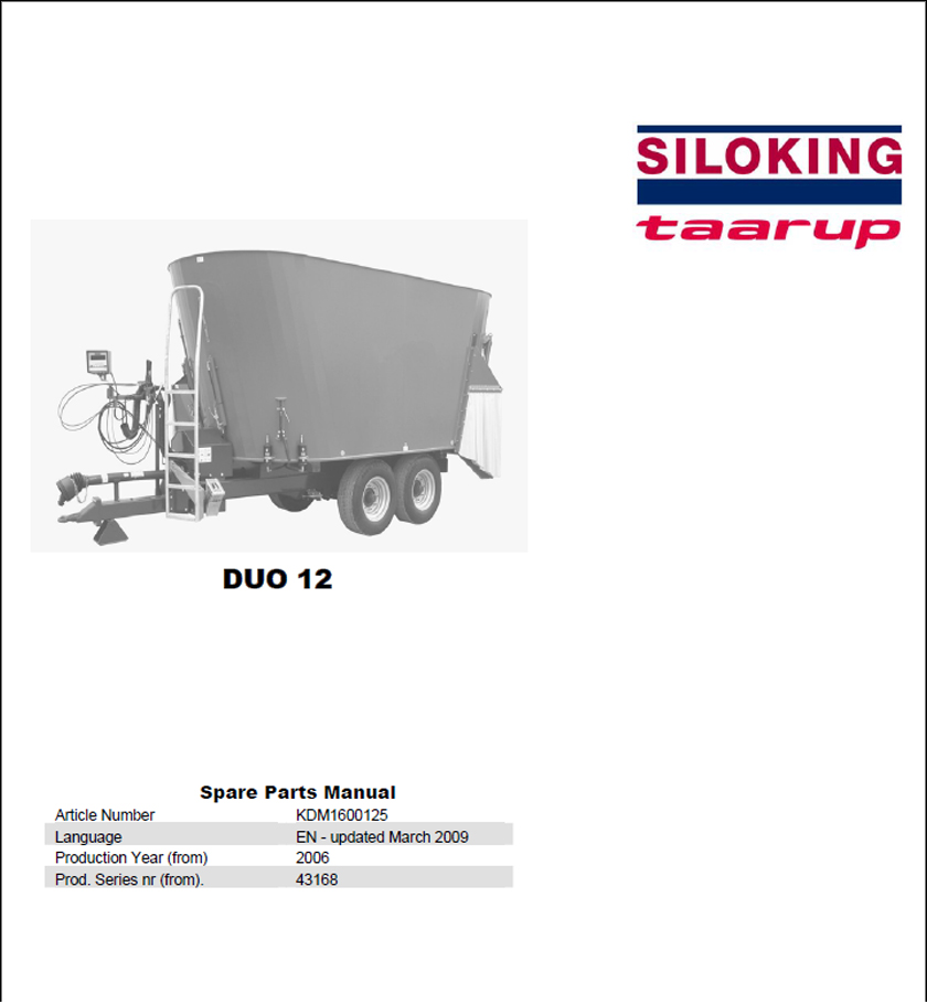 Taarup Duo 12 spare parts manual