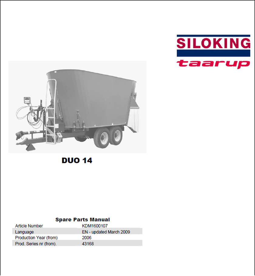 Taarup Duo 14 spare parts manual