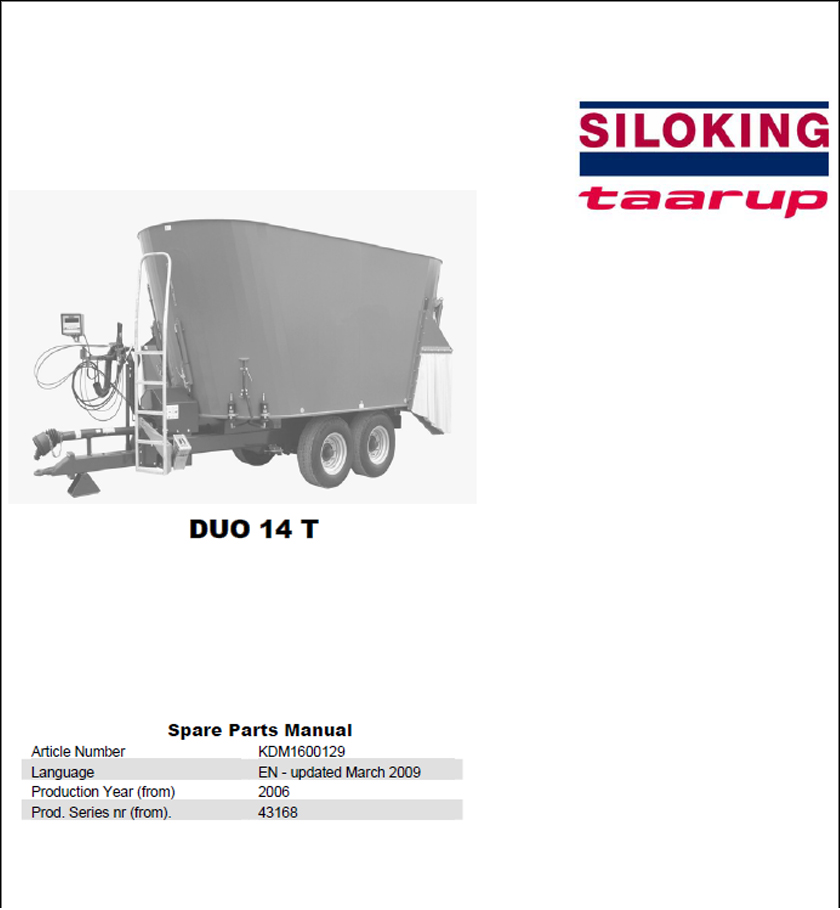 Taarup Duo 14T spare parts manual