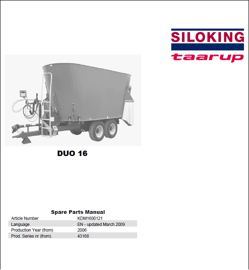 Taarup Duo 16 spare parts manual