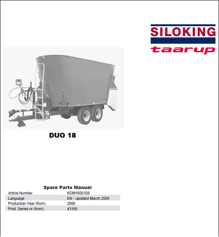 Taarup Duo 18 spare parts manual