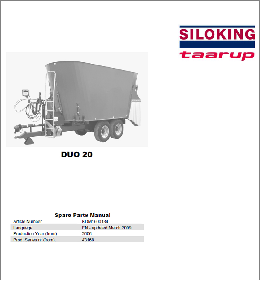 Taarup Duo 20 spare parts manual