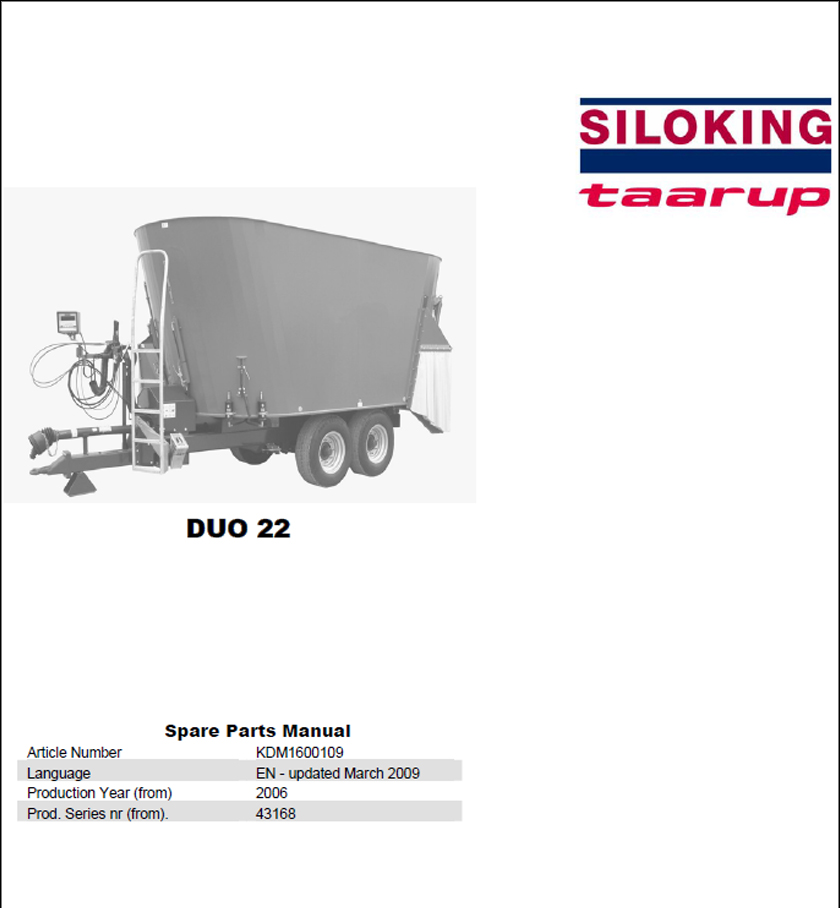 Taarup Duo 22 spare parts manual