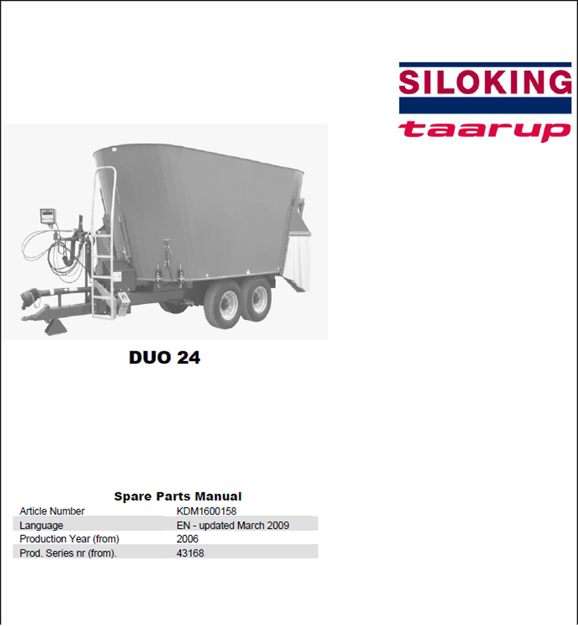 Taarup Duo 24 spare parts manual