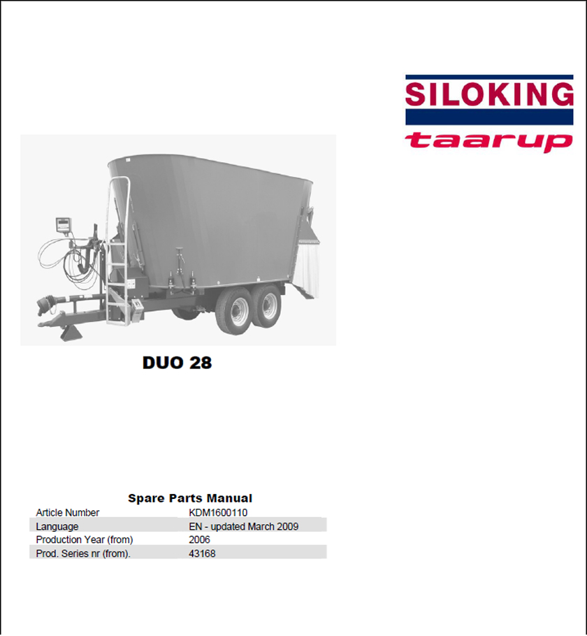 Taarup Duo 28 spare parts manual