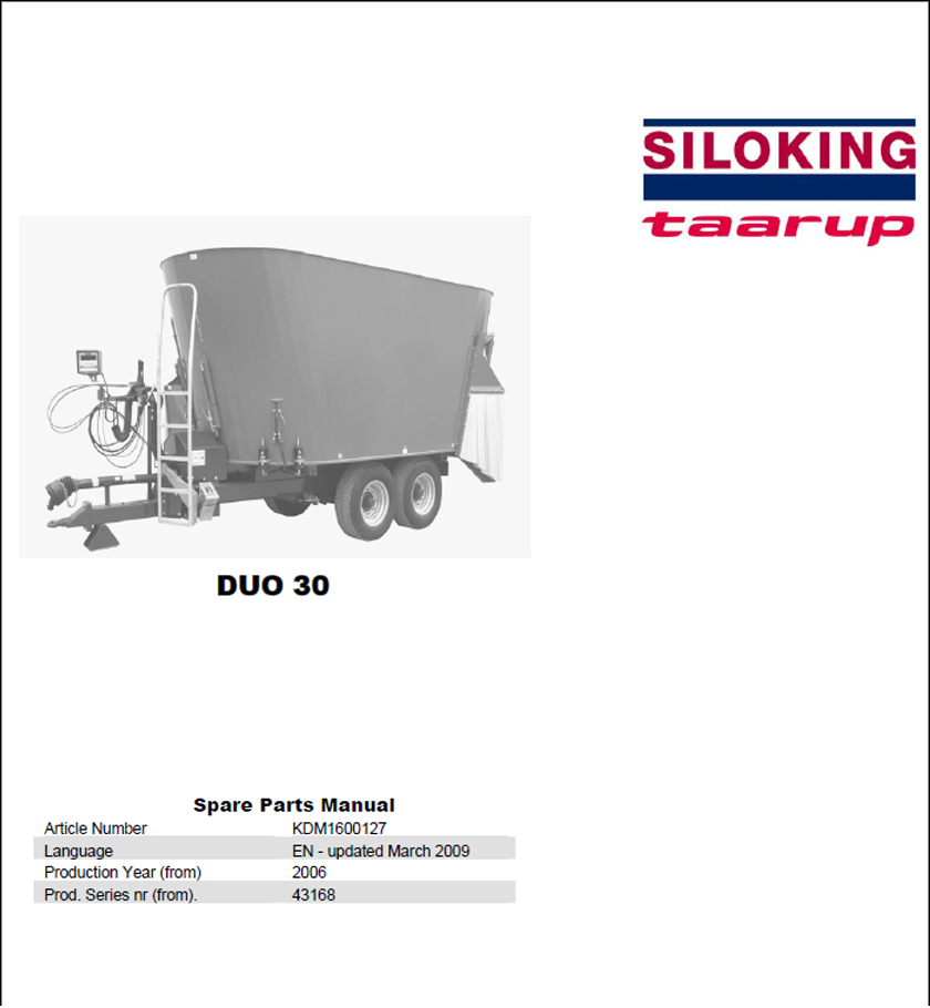 Taarup Duo 30 spare parts manual