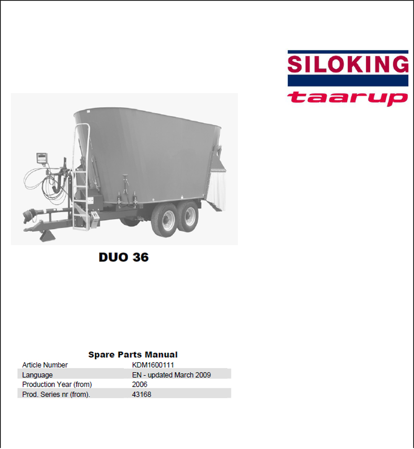 Taarup Duo 36 spare parts manual
