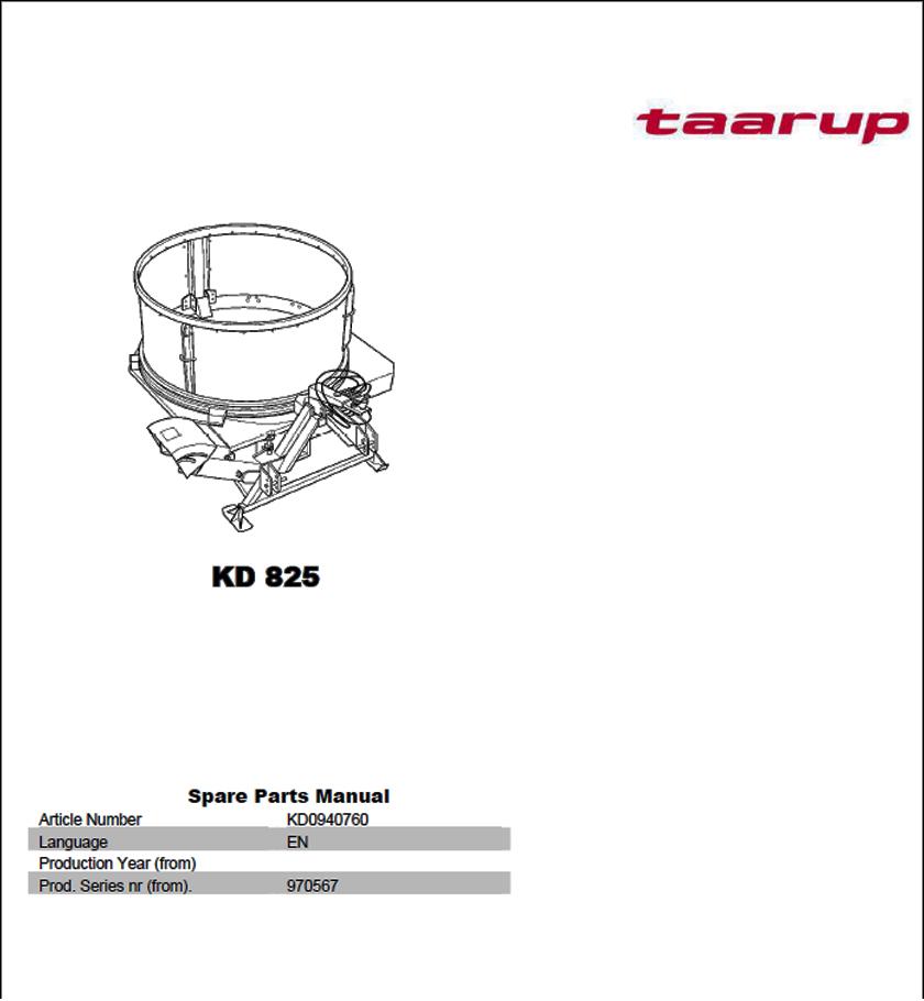 Taarup KD825 spare parts manual