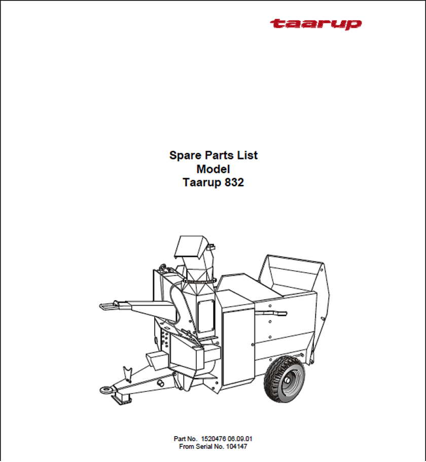 Taarup KD832 spare parts manual