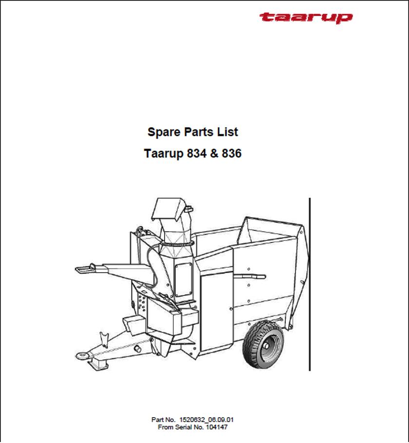 Taarup KD834 KD836 spare parts manual