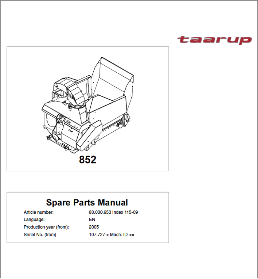 Taarup KD852 spare parts manual