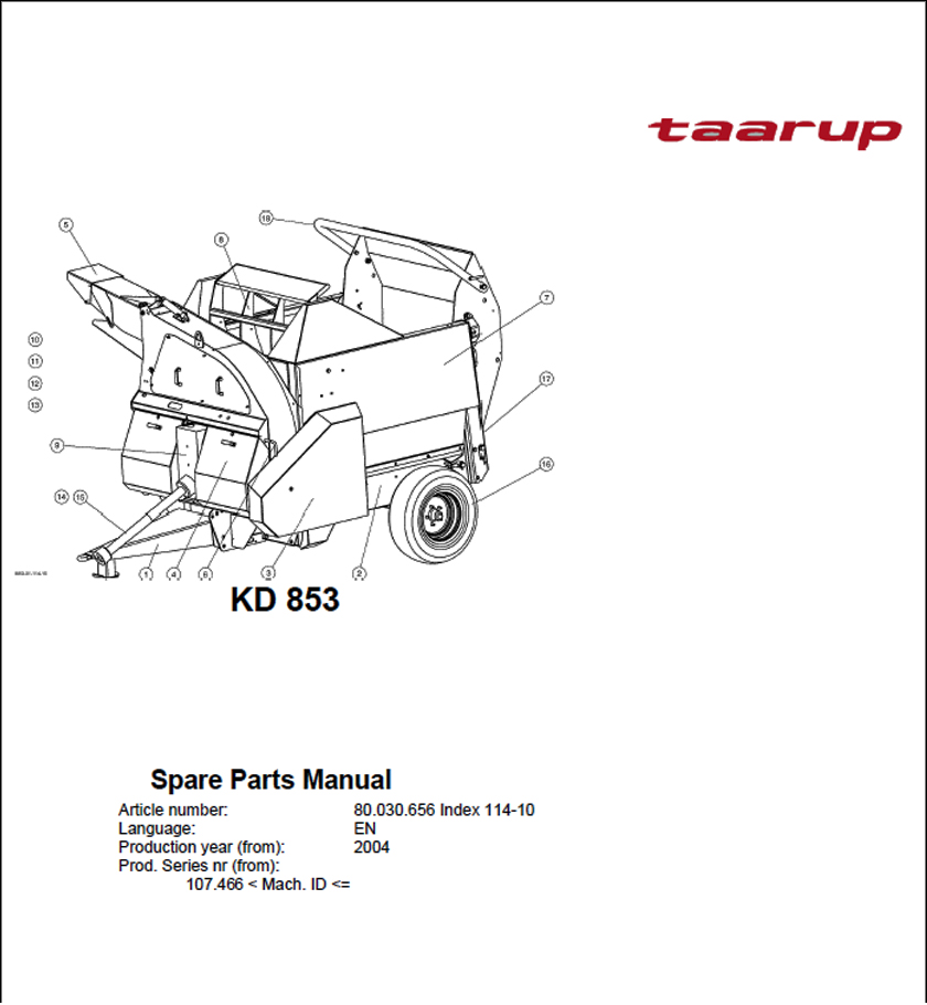 Taarup KD853 spare parts manual