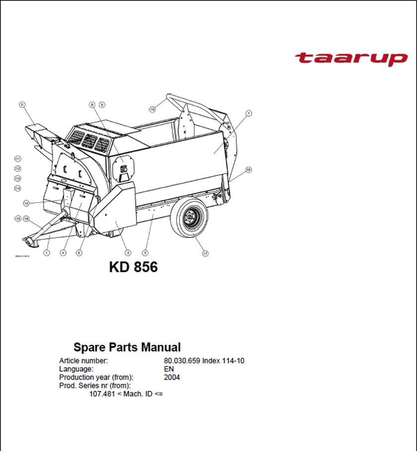 Taarup KD856 spare parts manual